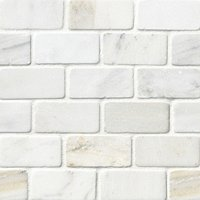 Hampton Carrara Tumbled Amalfi Marble Mosaic Tile - 2 x 4 in.