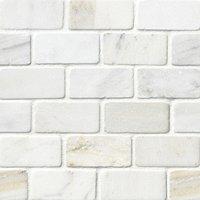 hampton carrara tumbled amalfi marble mosaic tile 2 x 4 in