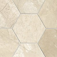 Queen Beige Polished Marble Hex Tile - 6 in