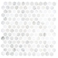 Hampton Carrara Hex Marble Mosaic Tile - 1 x 1 in.