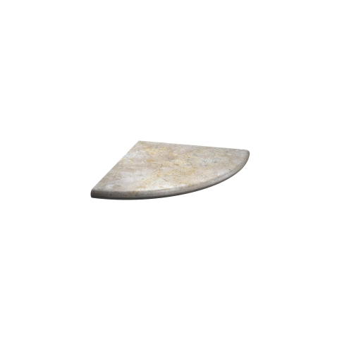 Hand Carved Sandlewood Honed Flat Corner Shelf Travertine Tile Fixture - 0.875 x 10 in.