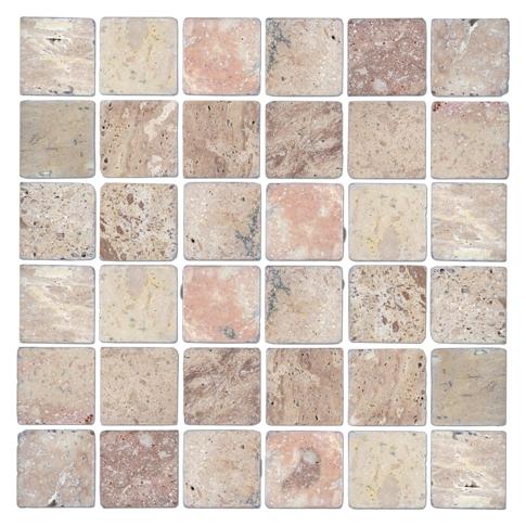 Multi Tumbled Travertine Mosaic Tile - 2 x 2 in.