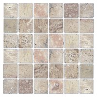 Multi Tumbled Travertine Mosaic Tile - 2 x 2 in.