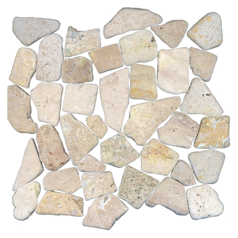 Multi Tumbled Cobble Travertine Mosaic Tile - 12 x 12 in.