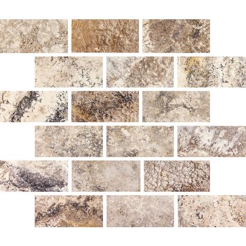 Volcano Brushed Amalfi Travertine Mosaic Wall Tile
