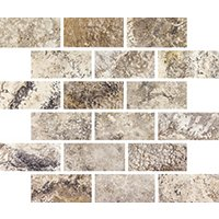Volcano Brushed Amalfi Travertine Mosaic Wall Tile