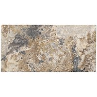 Volcano Brushed Travertine Wall and Floor Tile - 3 x 6 in