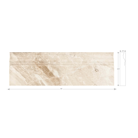Queen Beige Polished Marble Skirting Floor Tile - 4.75 x 12 in.