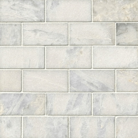 Tempesta Neve Polished Amalfi Marble Mosaic Tile - 12 x 12 in.