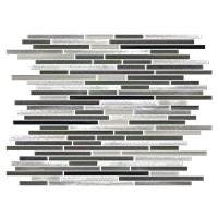 Brushed Metal with Glass Metal Mosaic Tile - 11.5 x 16 in.
