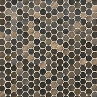 Brushed Copper Rounds Metal Mosaic Tile