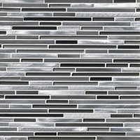 Brushed Metal with Glass Metal Mosaic Tile - 12 x 16 in
