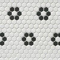 Hex Matte White w/ Black Flower Porcelain Wall and Floor Tile