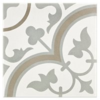 Cheverny Blanc Encaustic Cement Wall and Floor Tile - 8 x 8 in