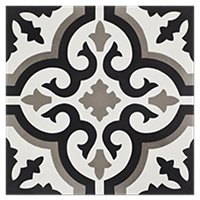 Liria Negro Encaustic Cement Wall and Floor Tile - 8 x 8 in