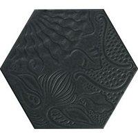 Gaudi Black Hex Porcelain Wall Tile - 10 in