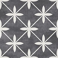 Laura Ashley Wicker Charcoal Matte Ceramic Wall and Floor Tile - 13 x 13 in