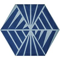 Blue Widow Hex Encaustic Wall and Floor Tile - 8 x 9 in