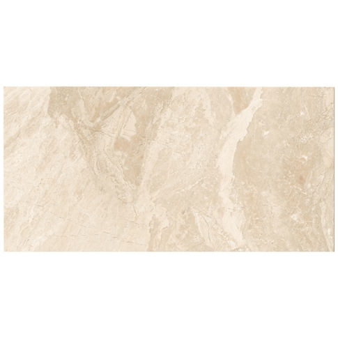 Queen Beige Polished Marble Floor Tile - 12 x 24 in.