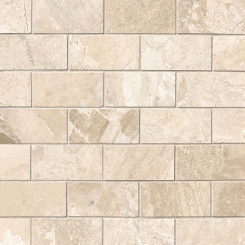 Queen Beige Polished Amalfi Marble Mosaic Tile - 12 x 12 in.