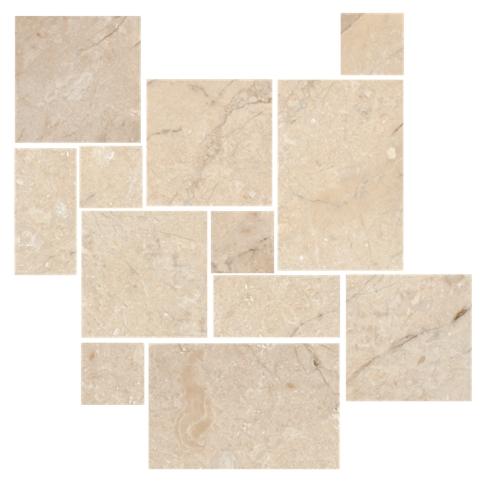 Queen Beige Tumbled Marble Floor Tile 12 X 12 In The