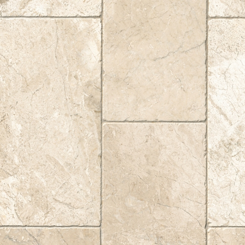 Queen Beige Tumbled Marble Floor Tile - 8 x 16 in.