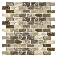Mexican Sand Shimmer Brick Glass Mosaic Tile - 1 x 2 in.