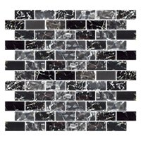 Black Magic Shimmer Brick Glass Mosaic Tile - 1 x 2 in.