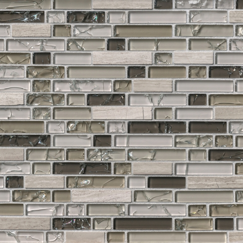 Legno Stria with Glass Mosaic Wall Tile - 12 x 12.5 in.
