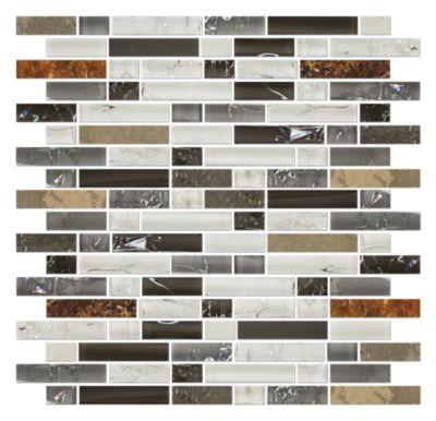 Breckenridge Stria with Glass Stone Mosaic Tile 12 x 12 in