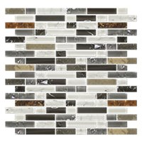 Vail Shimmer Stria with Glass Stone Mosaic Tile - 12 x 12 in.